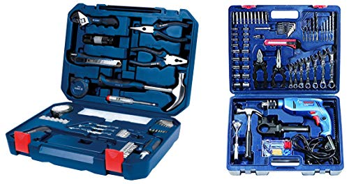 Bosch GSB 550 Mechanic Kit Professional & 2.607.002.790 All-in-One Metal Hand Tool Kit (Blue, 108-Pieces) Combo