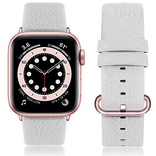 Fullmosa kompatibel Apple Watch Armband 44mm und 44mm,Leder Uhrenarmband Ersatzband für Apple Watch Series SE/6/5/4/3/2/1,44mm/42mm Weiß+Roségold Schnalle