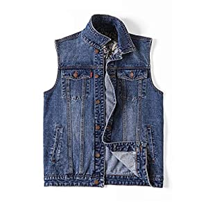 Men's Denim Vest Jean Vest Black Denim Motorcycle Black Blue Biker Pl...
