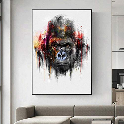 Arte Callejero Impresión en Lienzo Pintura Graffiti Mono Gorila Arte de la Pared Imágenes Cartel Abstracto Decoración Moderna para el hogar-40x60cm (sin Marco)