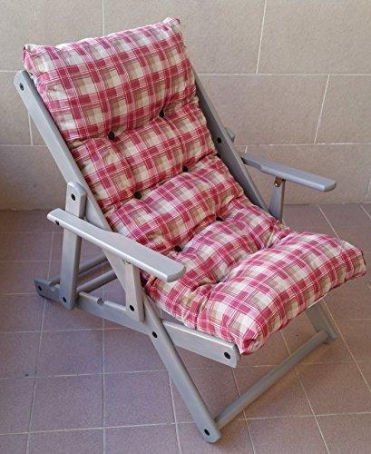Liberoshopping Fauteuil chaise longue relax 3 positions en bois laqué gris repliable coussin rembourré H 100 cm rouge
