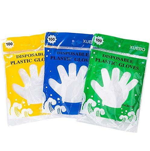 ALEMIN 100 pcs/bag Food Plastic Gloves,Disposable Clear Plastic Gloves, hotel Restaurant transparent Work Gloves, Food Plastic Gloves for Cooking,Cleaning,Food Handling,home party,outdoor club