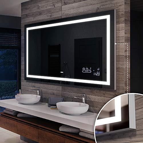 Artforma 80 x 70 cm Premium Espejo de Baño con Iluminación LED - Luz Espejo de Pared con Accesorios - Diferentes tamaños para Baño Dormitorio Maquillaje - L15