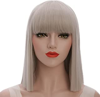 karlery Straight Short Hair Bob Wigs with Flat Bangs Synthetic Wigs for Women Natural As Real Hair (Gray)