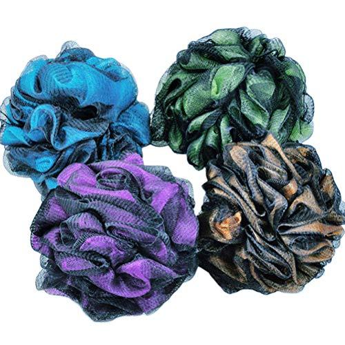 Lurrose 4pcs Bain Douche Éponge Pouf Loofah Maille Brosse Boule De Douche Maille Bain Douche Boule D'éponge (Jaune, Violet, Vert, Bleu)