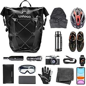 LEMEGO Bolsa Alforja Trasera para Bicicleta 27L, Grande Bolsa Bicicleta Multifunción Carretera MTB Bicicleta de Montaña, Adaptables a la Carga e Impermeables