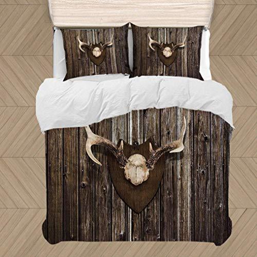 LOSUMIGE Bettwäsche-Set, Mikrofaser, Rustikale Home Cottage Cabin Holzwand mit Geweih Jagdhaus Country House Trophy, Multicolor,1 Bettbezug 135 x 200cm + 2 Kopfkissenbezug 50 x 80cm