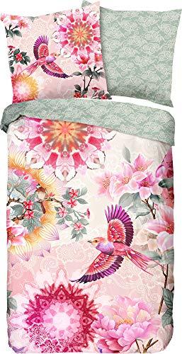 HIP Eden Satin Reversible Bed Linen, Fabric, Colourful, 155x220 cm (80x80 cm)