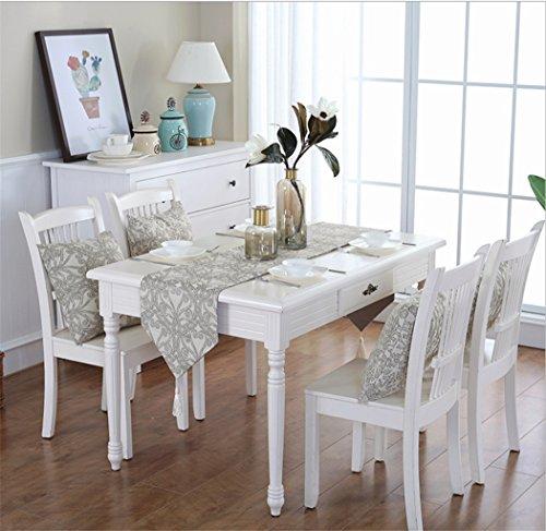 ZHCJH Tischläufer Luxus-Amerikanische Landtischdeckentischmatten Tischdecke-Hauptpartei-Schlafzimmer Eingangsbereich Des Foyers Home Decor Party Tisch-Dekoration,White,32Cmx220cm