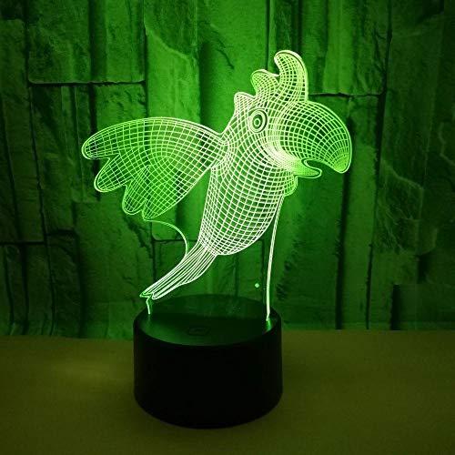 Lámpara de ilusión 3D Led Night Light Parrot Bird 7 colores Cambio...