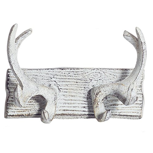 Vintage Cast Iron Deer Antlers Wall Hooks by Comfify | Antique Finish Metal Clothes Hanger Rack w/Hooks | Includes Screws and Anchors | in Antique White| (Antlers Hook CA-1507-23)