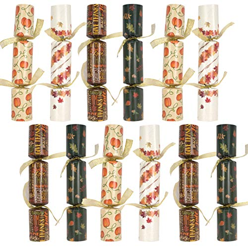 Thanksgiving Party Table Favor No Snap No Popping (12 Pack) with Party Hat, Joke & Gift Inside, Designed with Autumn Leaves, Pumpkin, Lettering for Fall Holiday, Thanksgiving Holiday Traditions