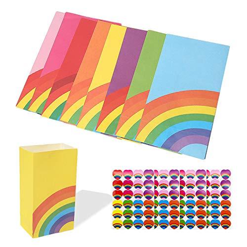 sinzau 40 sacchetti di carta per feste e compleanni, con 96 adesivi, 8 colori