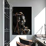UHvEZ Mujer Africana de Oro negroPuzzle Adulto de Madera 1000pcsJuego de Rompecabezas Educativo, Juguetes ensamblados, imágenes de paisajes, Rompecabezas para Adultos, Regalos para niños_50x75cm