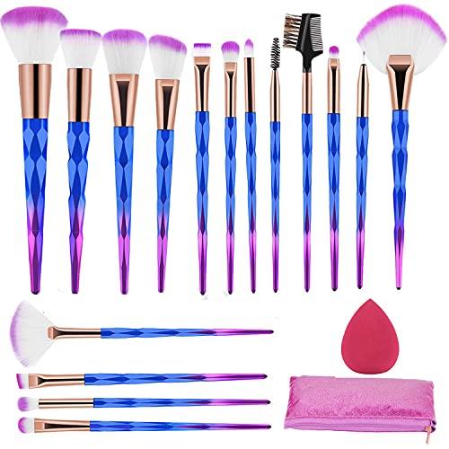 Set de Brochas de Maquillaje 16 Piezas Premium Pinceles Maquillaje Profesional Sintético Blush Contour Foundation Corrector Brocha Para Sombra de Ojos con Esponja de Maquillaje y Bolsa