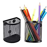 Magnetic Pencil Holder, Mesh Storage Metal Baskets Holder Container Storage Organizer with Magnets to Hold Whiteboard Kitchen Refrigerator Fridge, Locker Accessories, Black (2)
