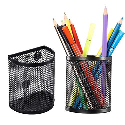 Magnetic Pencil Holder, Mesh Storage Metal Baskets Holder Container Storage Organizer with Magnets to Hold Whiteboard Kitchen Refrigerator Fridge, Locker Accessories, Black (2)
