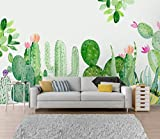 Mural Papel Pintado Cactus Planta Tropical Tv Fondo Pared Pintura Decorativa@350 * 245 Cm