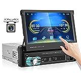 CAMECHO Carplay Autoradio 1 Din Retractable GPS 7 Pouces Écran Tactile Poste Radio Voiture Récepteur FM Prise en Charge USB/TF/AUX in+Lien Miroir+Télécommande+Caméra de recul