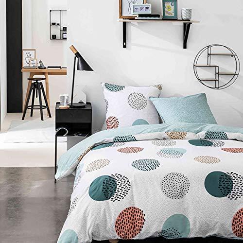 Today Mawira 1.4 - Juego de cama con diseño geometrik, 240 x 220 cm, algodón y blanco, fantasía, 57 hilos/cm2