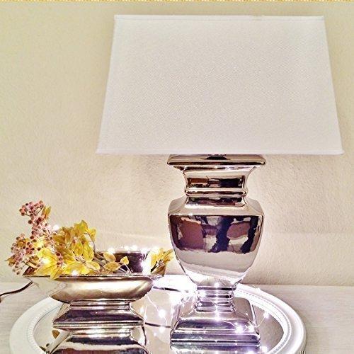 DRULINE Silver Lady 59 cm Tischlampe WEIß Shabby Chic Tischleuchte Silber Keramiklampe Lampe Leuchte