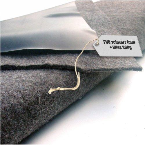 Teichfolie PVC 1mm schwarz in 8m x 6m mit Vlies 300g/qm