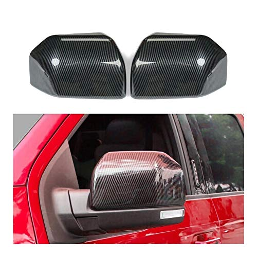 Auto-Spiegel-Replacement Covers Hüllen Shell ABS-Carbon-Faser-Seiten-Spiegel-Abdeckungs-Ordnung for Ford F150 2015-2019 Raptor Links + Rechts-Spiegel-Abdeckung (Color : Black)