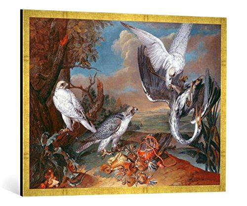 Gerahmtes Bild von Ferdinand Phillip de Hamilton Greenland CYR Falcons, Kunstdruck im hochwertigen handgefertigten Bilder-Rahmen, 100x70 cm, Gold Raya