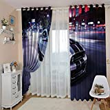 WAFJJ Cortinas Dormitorio Moderno Plata y Coche Blackout Curtain Cortina Opaca Suave para Ventanas de Habitación Juvenil con Ojales Estar Niño Tamaño:2x75x166cm(An x Al)