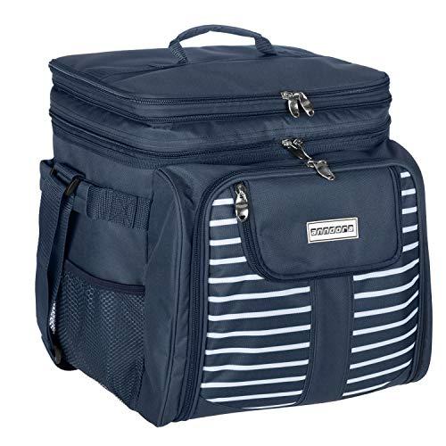 anndora Picknicktasche blau weiß Kühltasche inkl. Zubehör 4 Personen 29 Teile