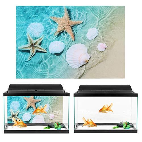 Atyhao Pegatina de Fondo Sandbeach Estrella de mar patrón pecera Pegatina de Fondo para decoración de Acuario 40x60 cm