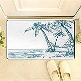 Amanda Walter Zerbino Accogliente per Le Vacanze di Una Spiaggia Tropicale con Palme e Amaca Zerbino Relax Hawaiano 36 'x24' Blu Bianco