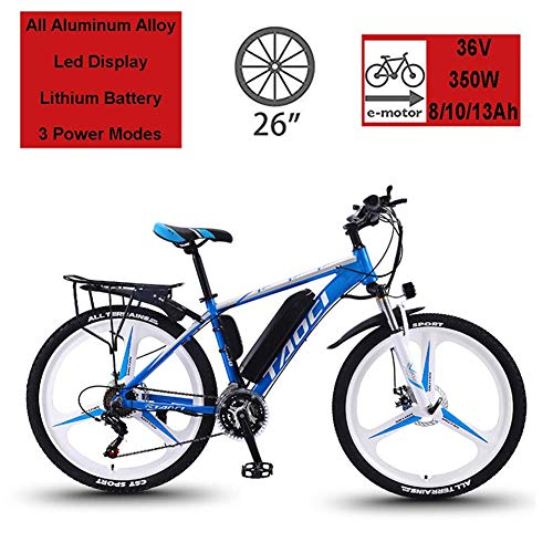 HSART 26' Electric Bikes for Adult, Magnesium Alloy E-Bikes All Terrain Bicycles, 350W 36V 13Ah Removable Lithium-Ion Battery Mountain Ebike for Mens(3 Colors),Blue,8Ah50Km