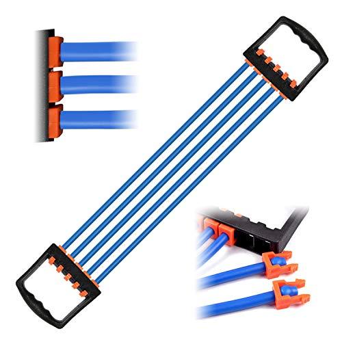 Extensor del Pecho Ajustable, Fuerza de tracción 5 Bandas Removibles de Resistencia para Ejercitador de músculo Fitness Entrenamiento Crossfit 5x15 lbs Látex