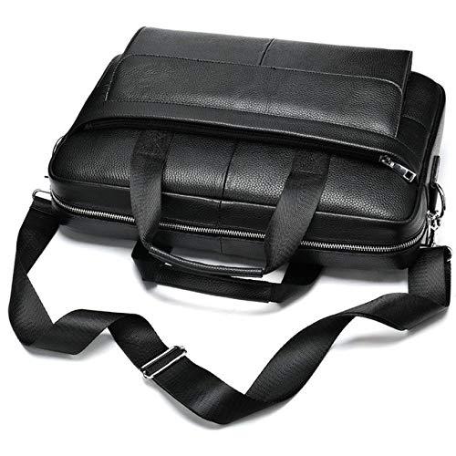PIANYIHUO aktentasMode lederen aktetas heren grote capaciteit tas voor heren laptoptas messenger bags heren crossbody tas schouder maleta, zwart