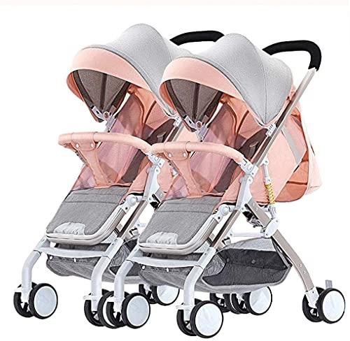 Cochecito doble para bebés y niños pequeños, desmontable, caminata gemela de aleación de aluminio, camiones laterales a lado doble de hasta 25 kg con posición de mentira desde el nacimiento, peso lige