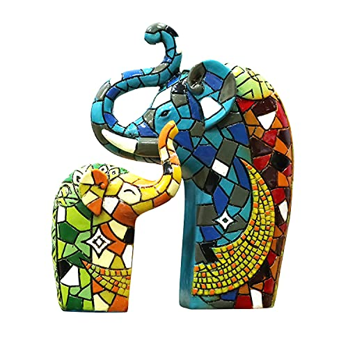 Liffy Adornos de Resina de Elefante decoración de Mesa de Estilo Mosaico decoración de Pared Colgante para Sala de Estar, Dormitorio