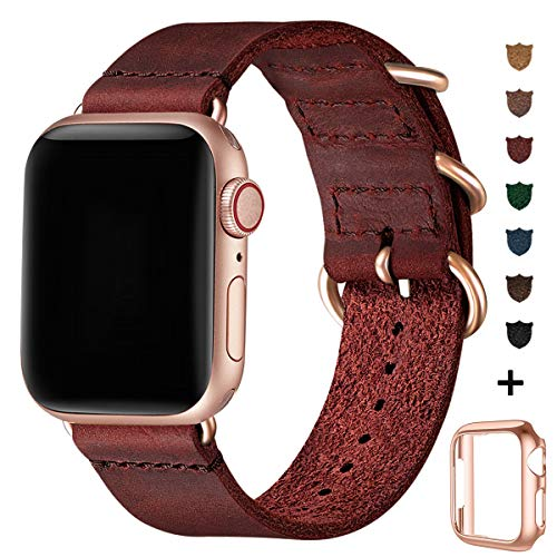 BesBand Retro Lederbänder Kompatibel mit Apple Watch Armband 42mm 44mm 38mm 40mm,Echtes Leder Vintage Armbänder Kompatibel für Männer Frauen iWatch Series5 Series4/3/2/1 (42mm 44mm, Weinrot/Roségold)