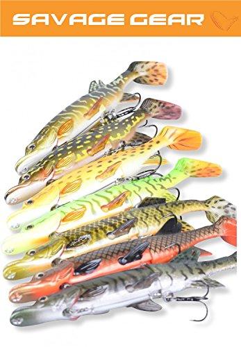 Savage Gear 3D Hybrid Pike, Hechtköder, Angelköder für Hecht, Hechtwobbler, Hybridköder, Gummifische, Wobbler, Farbe:Yellow Pike, Länge/Gewicht:17cm -45g