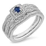 DazzlingRock Collection Anillo de Compromiso de halo Nupcial Redondo de Oro y Zafiro Azul con Diamantes de 10k 5.5