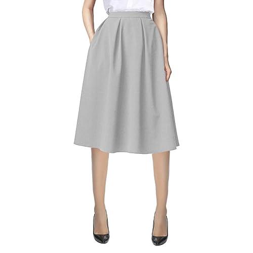83381aefb5 Urban CoCo Women's Flared A line Pocket Skirt High Waist Pleated Midi Skirt