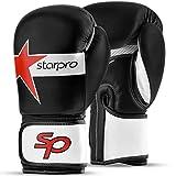 Starpro Gants de Boxe pour Entrainement - Cuir Gant pour Sparring Muay Thai Sac Frappe Entraînement Mitaines Kickboxing Compétition | 8oz 10oz 12oz 14oz 16oz | Noir, Blanc Boxing Gloves