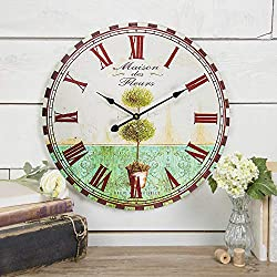 SkyNature Large Wall Clock, Vintage Wooden Clock with Roman Numerals, Indoor Silent Non-Ticking Battery Operated Clock Decorative for Living Room, Bedroom, Kitchen, Office, Den - 24 Inch, Plant