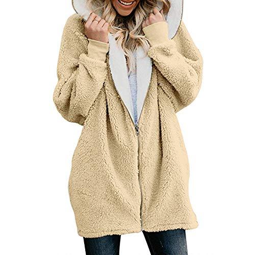 Auifor Die vrouwen Fest Maxi-Zip-Down-mantel met capuchon Cardigans outwear met tas