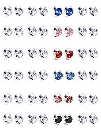 Tornito 24 Pairs Magnetic Stud Earring Multi Colors Cubic Zirconia Clip on Non Piercing Earrings Set for Women Men 4MM
