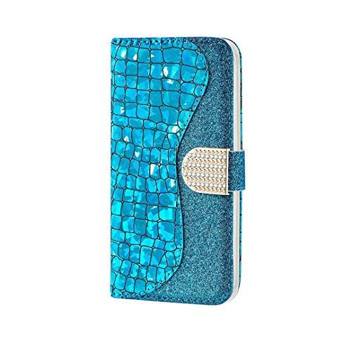 WJMWF Compatible con Funda Samsung Galaxy A02S Glitter PU Cuero Flip Billetera Case Cierre Magnético con Ranura para Tarjeta Anti-Shock Cubierta-Azul
