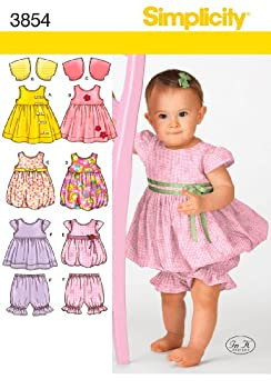 Simplicity In K Designs Pattern 3854 Babies Dress or Jumper Top Pantaloons and Bolero Sizes Birth to 24 Pounds or 18 Months