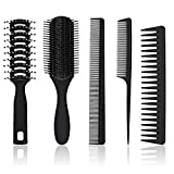 5 Stück Haarkamm und Bürste Set Paddel Haarbürste Entwirren Haar Bürsten Schwarz Haar Styling Kämme für Männer Frauen nasses, trockenes, lockiges und glattes Haar