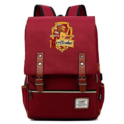 Borsa scuola Grifondoro, borsa per tablet zaino per laptop Harry Potter con porta di ricarica USB Unisex Vino rosso