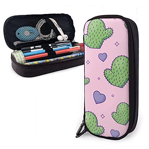 Estuche de piel sintética con diseño de corazones de cactus y fondo rosa, bolsa de gran capacidad, bolsa de maquillaje para escuela, estudiante y oficina
